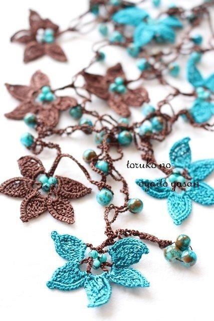 oya crochet lariat necklace More