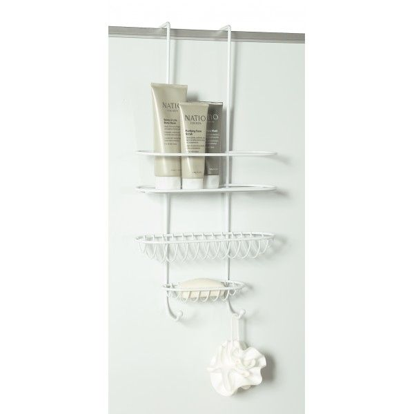 This white powder coated overdoor shower caddy keeps your hygiene products organised and within easy reach. �It fits easily over a door or your shower wall. This rack allows items to self drain and dry between shower use. �Hooks at the bottom are perfect for hanging loofahs, back brushes or washcloths.54 H x 27 W x 10 D cm�