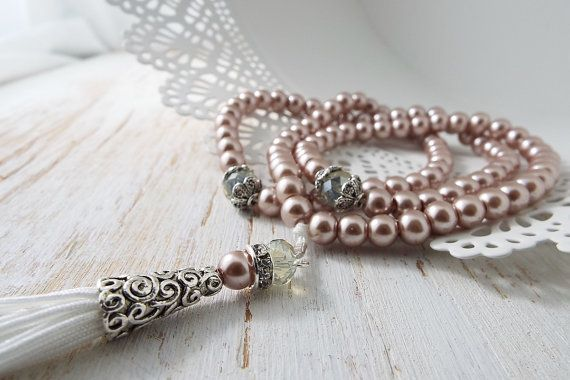 Beautiful dusty pink pearl prayer bead, tasbih, tasbeeh with 99 beads. Handmade using crystal beads and antique silver spacers to mark the 33