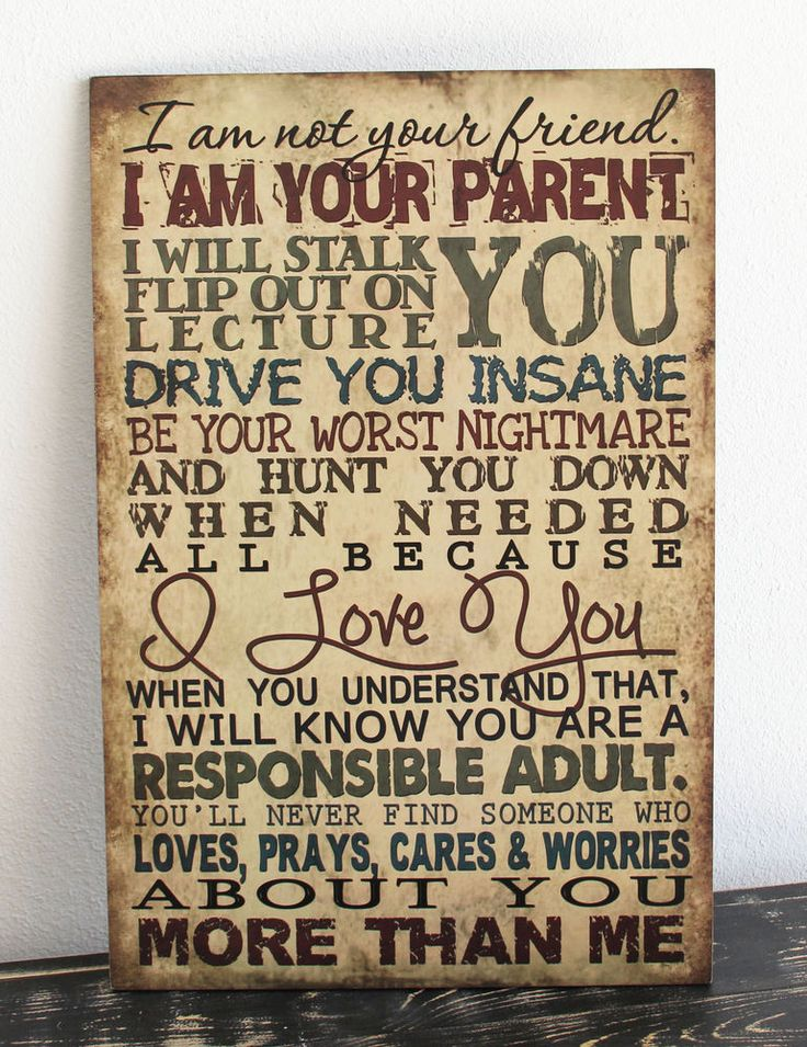 Vintage Primitive wood sign I AM YOUR PARENT NOT YOUR FRIEND Rustic Home Decor #Handmade