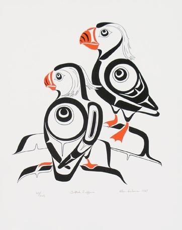 Tufted Puffins  Glen Rabena, Haida art is my favourite.