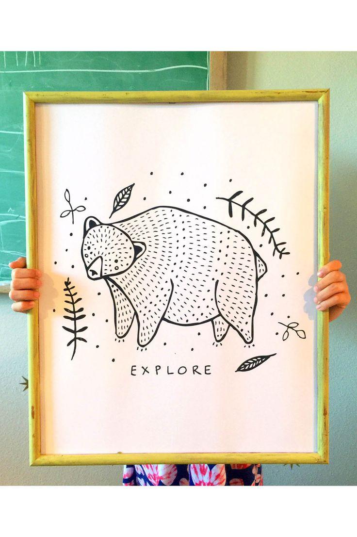Explore Bear Art Print