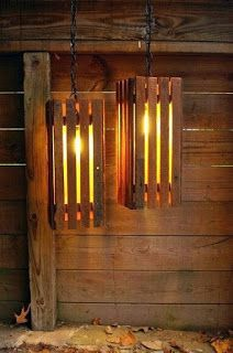Hanging Lamps Made From Pallets   ---  #pallets  ----  <3