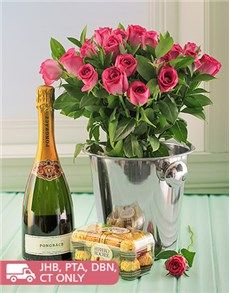 Flowers: Pink Roses, Pongracz, Ice Bucket and Choc's!