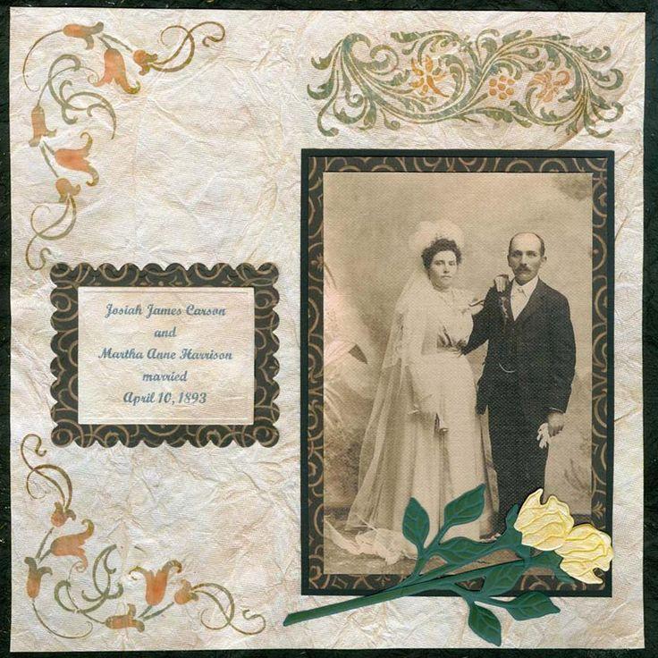 Vintage Wedding Scrapbook Layout  http://www.favecrafts.com/Scrapbooking-Layouts/Vintage-Wedding-Day-Scrapbook-Layout