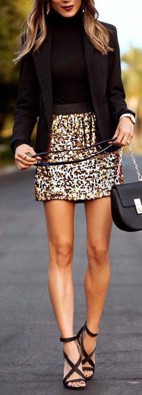 #winter #outfits black blazer and gold glittered mini skirt
