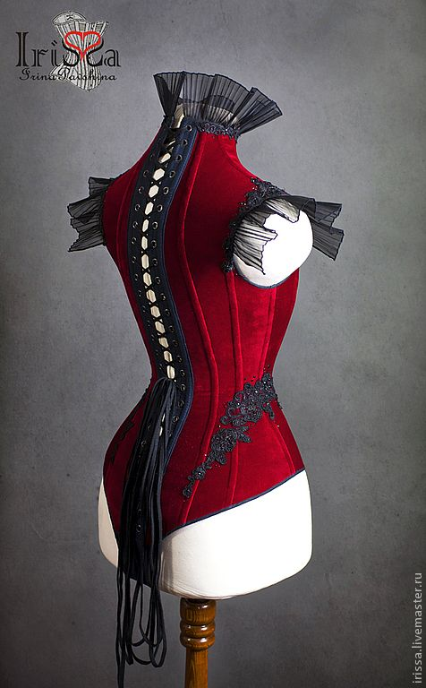 Victorian Gothic body corset.  This is the back view.  Front view is also pinned | By Irina IriSSa Pavshin