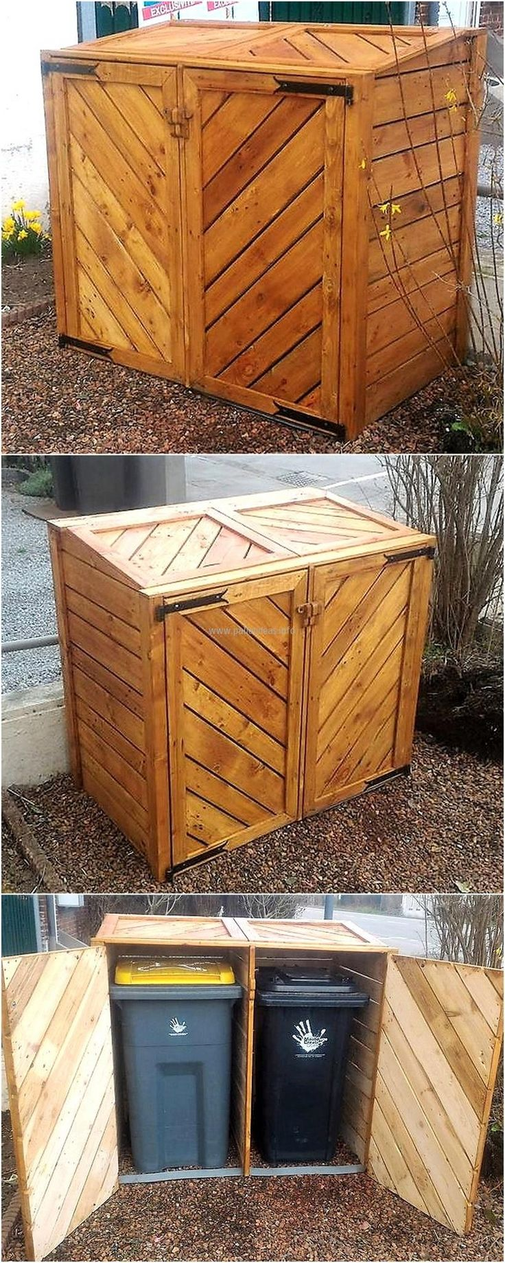 If anyone thinks that trash cans look bad when they are placed visibly, then here is an idea to cover them with the help of the pallets. The pallets will work great in covering the garbage cans and make the area look great.