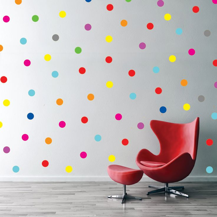 Polka Dot Rainbow Wall Decals, Confetti Polka Dot Pattern,Mixed Colors Polka  Dots Pattern
