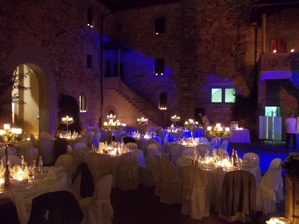 blue candle-light courtyard