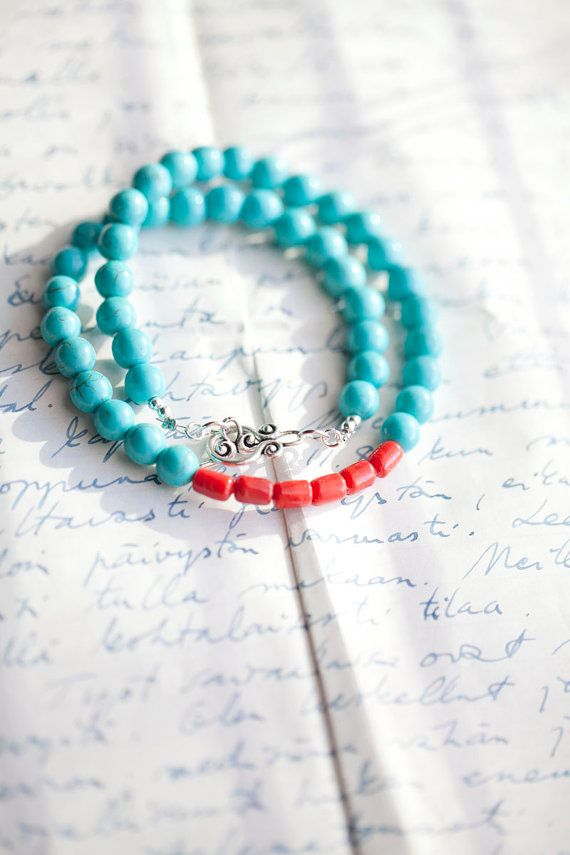 Turquoise Necklace with Red coral beads