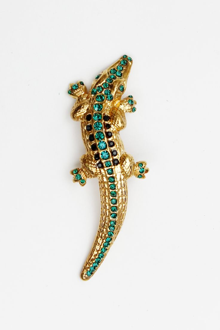 #RobertoCavalli #Cavalli #ClassbyRobertoCavalli #Prefall #accessories #broche #alligator #gold #turquoise