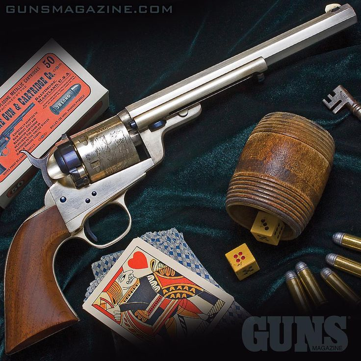 """Gussied-up"" Cimarron Old West 1851 Navy .38 Special proves the ole horse can be a show horse with a little extra grooming. This nitro blue and silver plating provide striking contrast.  More in the May 2018 issue of GUNS Magazine.  #throwbackthursday #pewpewlife #merica #igmilitia #righttobeararms #cimarron #gunstagram"