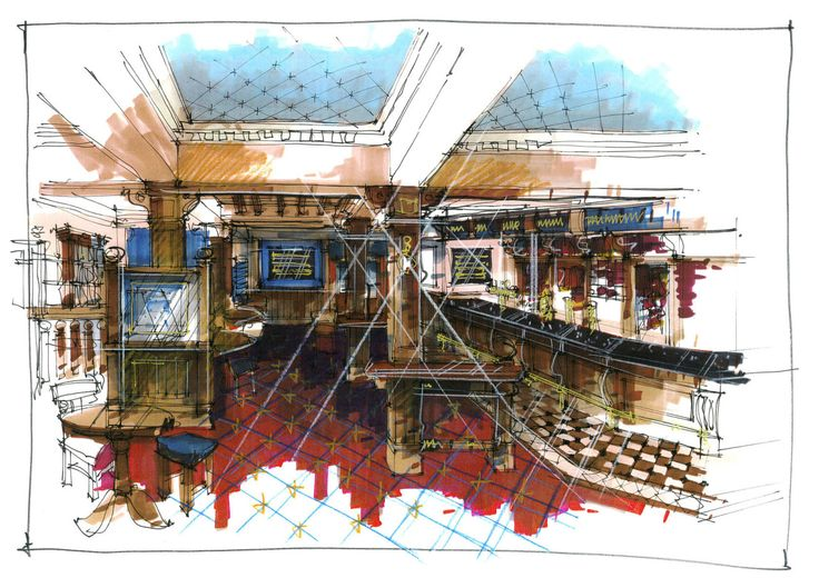 Wetherspoons:I suppose everyone knows Wetherspoons – as an interior designer I did quite a lot of work for them but they tend to take over your life. Straightforward sketches without much scope to stretch out.