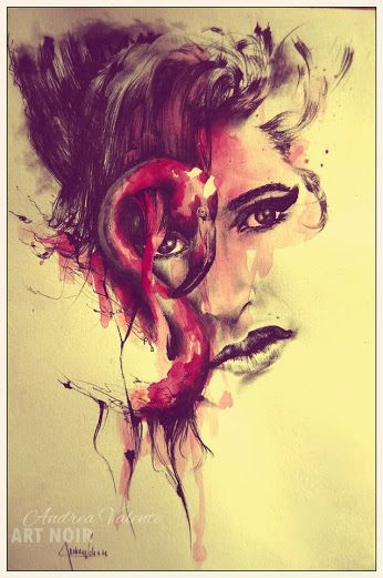 """Andrea Valente: Google+ """"Amy Whinehouse"""" Portrait in ballpoint and watercolors on paper 20cm x 30cm"""