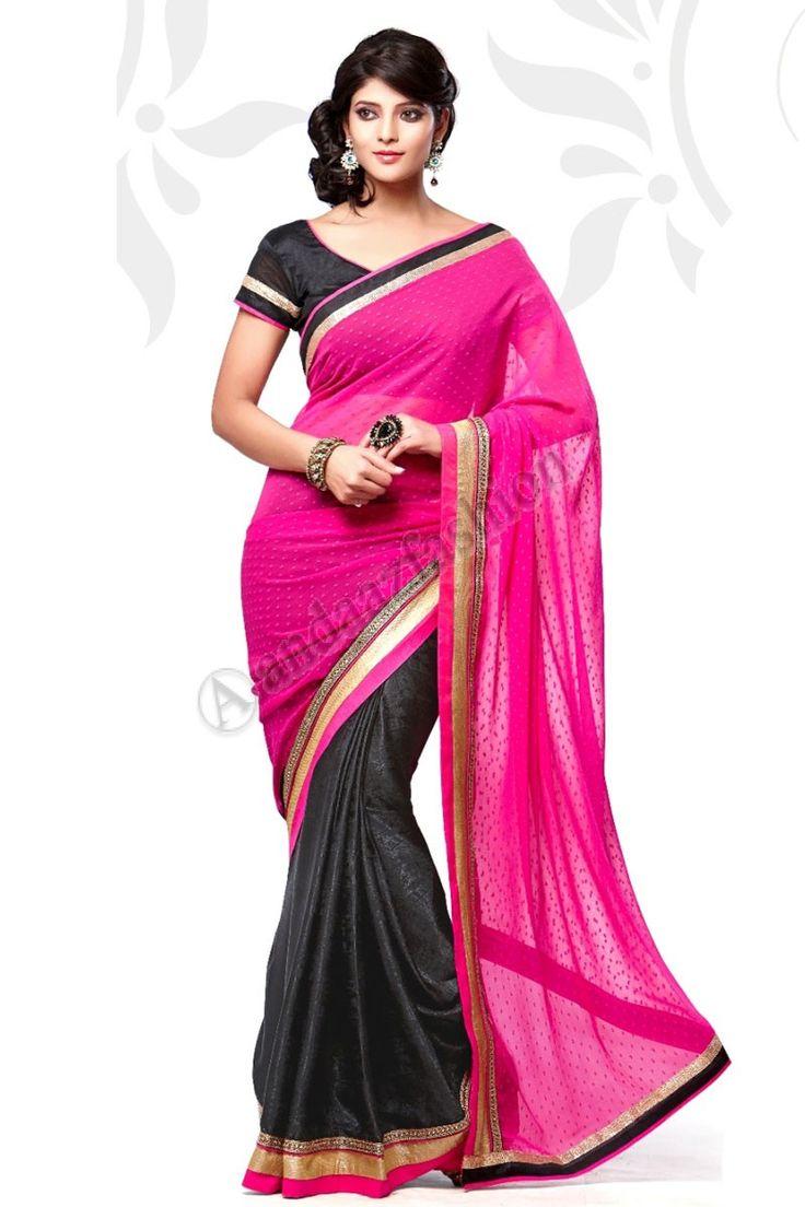 Noir Rose Jacquard Net Saree design n ° DMV7556 Prix: - 49,20 € robe Type: Saree Tissu: Jacquard Couleur Net: Noir avec des embellissements roses: brodé, Plaine Pallu Pour plus de détails: - http://www.andaazfashion.fr/black-pink-jacquard-net-saree-with-black-orange-jacquard-blouse-dmv7556.html