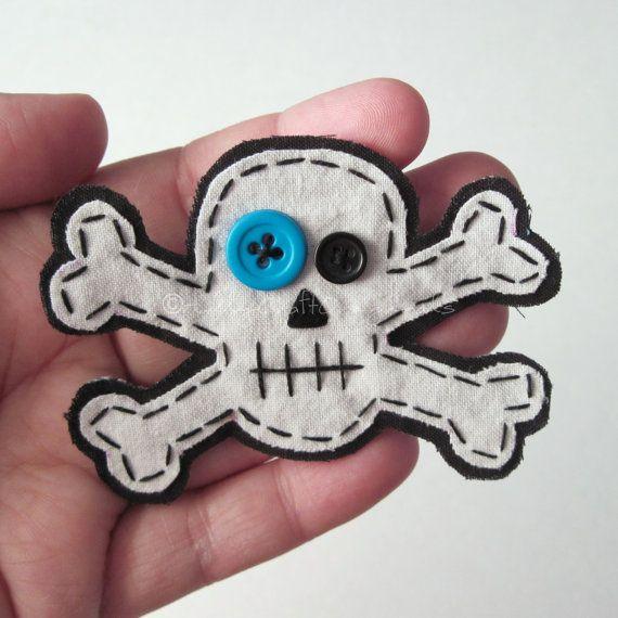 Small Skull and Crossbones AppliqueSkull by HollyCraftOriginals