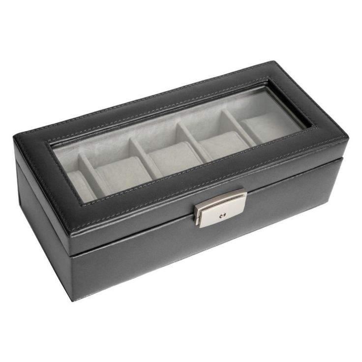 5 Slot Leather Watch Box with Optional Monogramming - 10W x 3H in.