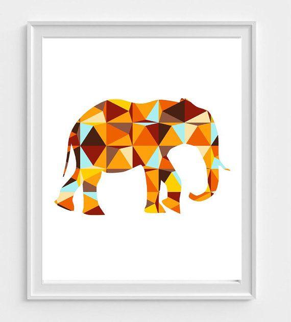 Esta impresión geométrica elefante irá bien con la jirafa, hipopótamo y rinoceronte imprime en mi tienda.  https://www.etsy.com/listing/253375887/rhinoceros-wall-art-nursery-art-print?ref=shop_home_feat_2  https://www.etsy.com/listing/253375835/hippo-art-print-nursery-wall-art?ref=shop_home_active_5  https://www.etsy.com/listing/265283691/giraffe-art-print-geometric-giraffe?ref=shop_home_active_1  Impresiones están disponibles en dos tamaños:  8 x 10 pulgadas 11 x 14 pulgadas  Estas…