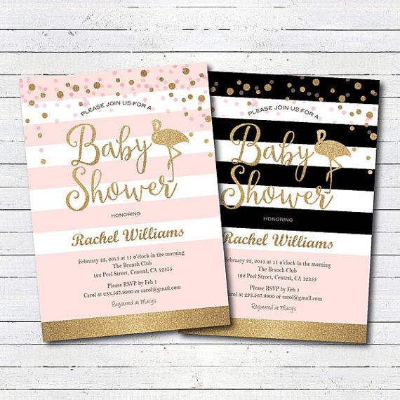 Pink and gold baby shower invitation. Flamingo baby by CrazyLime