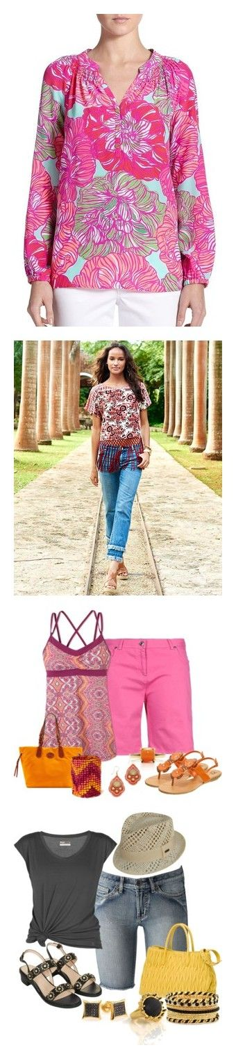 """""""Spring Outfits"""" by kmatwick ❤ liked on Polyvore featuring tops, blouses, apparel & accessories, multi, pink top, long blouses, silk top, silk blouses, multi color blouse and jeans"""