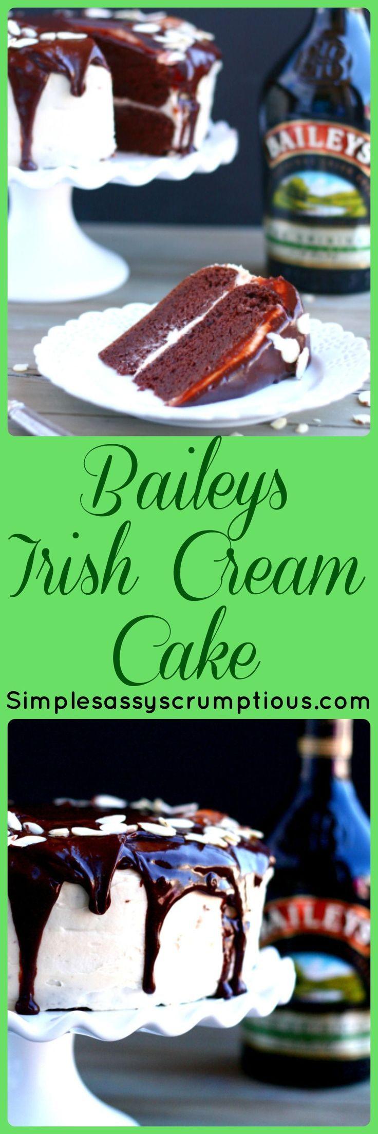 Rich chocolate cake with a hint of Baileys.  Baileys Irish Cream Cake!