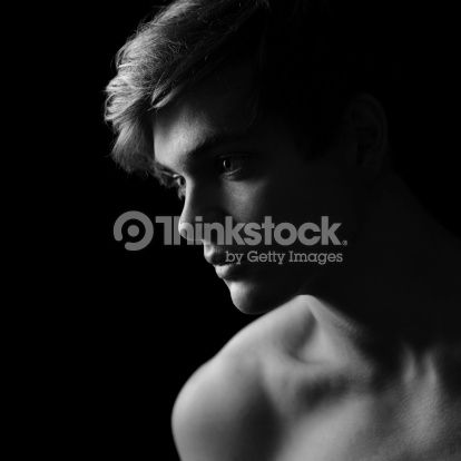 Stock Photo : Beautiful man silhouette in Black & White