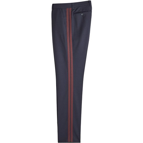 Valentino Wool Pants ($690) ❤ liked on Polyvore featuring men's fashion, men's clothing, men's pants, men's dress pants, blue, mens wool pants, mens blue dress pants, mens tapered pants, mens tapered dress pants and mens wool dress pants