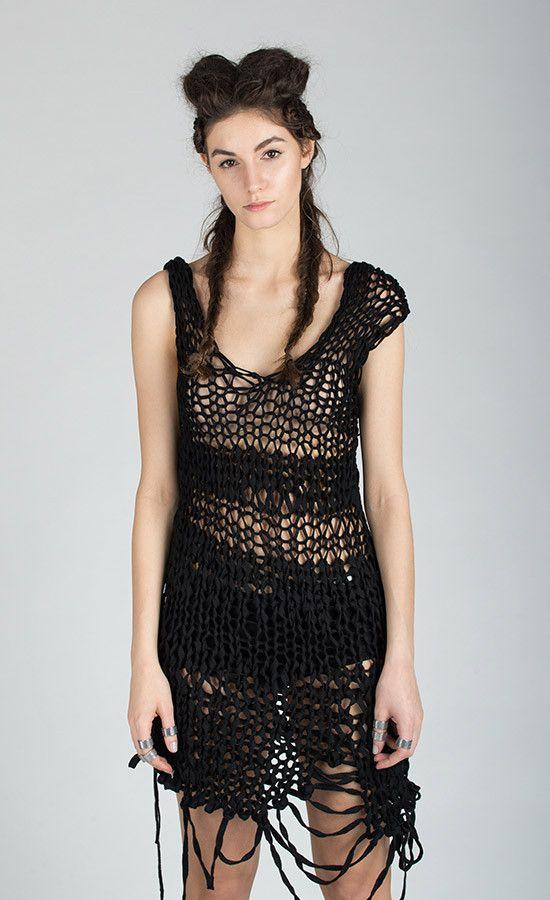 OPENNA - Openwork hand-knitted black dress  | Studio B3 |