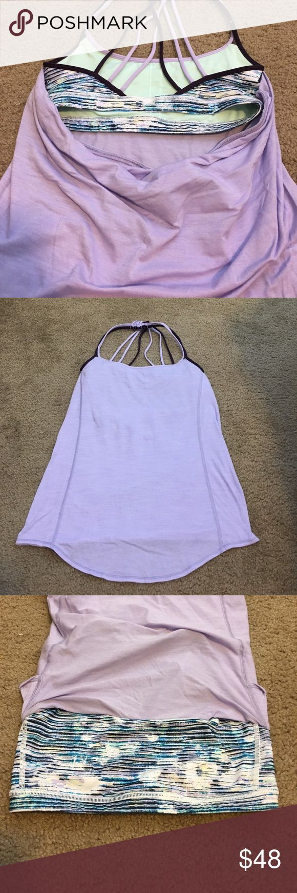 Lululemon Purple Strappy Slouchy Back Top RARE Super cute! Good condition! Only worn a couple times! Lulu symbol is on lower left on the back. Super comfortable and flattering! lululemon athletica Tops