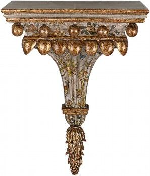 beautiful old world hand painted floral wood wall bracket with silver u0026 gold leaf accents