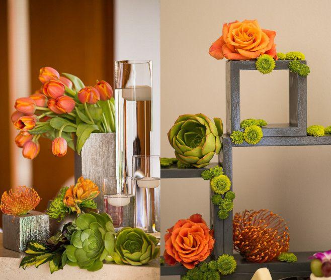 california beach wedding, orange wedding decorations, decor, wedding decor, orange and green, succulent wedding bouquets