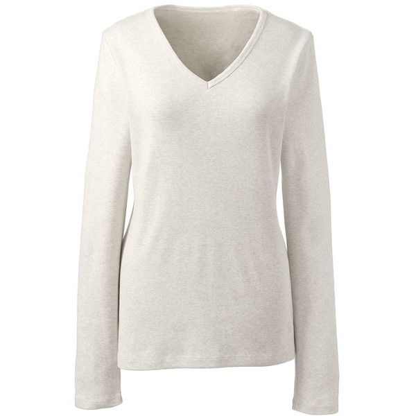Lands' End Women's Petite Shaped Cotton V-neck T-shirt (14 JOD) ❤ liked on Polyvore featuring tops, t-shirts, ivory, white v neck t shirt, layering tees, petite tee, cotton v neck t shirts and white top