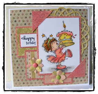 Lili of the Valley rosie with cake.  Verve Stamps birthday surprise.  First Edition Paper spring feast.  MFT die-namics dizzy doily.