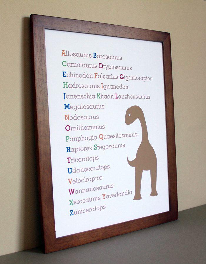 Nursery Art Dinosaur Alphabet, 11x14