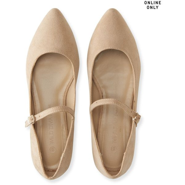 Aeropostale Wild Diva Lounge Pippa Ballet Flat ($14) ❤ liked on Polyvore featuring shoes, flats, brown, ballet pumps, brown pointy toe flats, ballet shoes, strappy ballet flats and ballet flat shoes