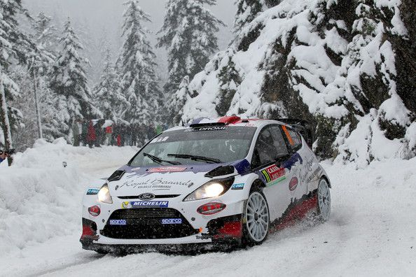 Bryan Bouffier of France and Xavier Panseri of France compete in their M-Sport Ltd Ford Fiesta RS WRC during Day Three of the WRC Monte-Carl...