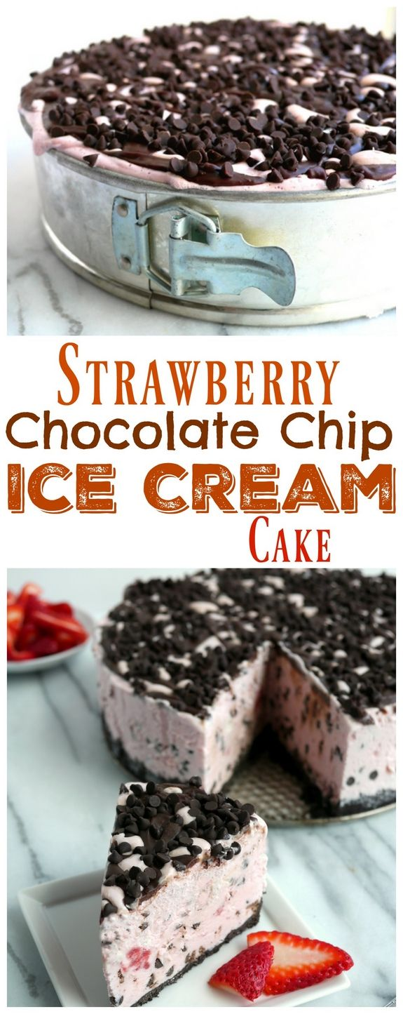 VIDEO + Recipe: Strawberry Chocolate Chip Ice Cream Cake from NoblePig.com.