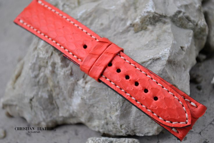 Breitling Red Snake Leather Handmade Watch Strap - Custom Size Any Lug Width Custom Color & Stitching by ChristianStraps on Etsy