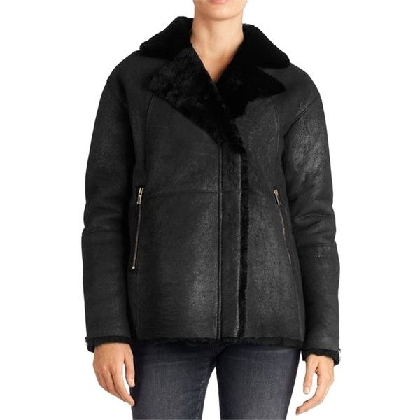 Pre-owned Coat (4.585 HRK) ❤ liked on Polyvore featuring outerwear, coats, black, j brand, black shearling coat, black coat, shearling coat and fur-lined coats