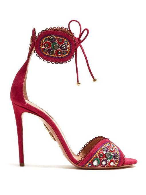 b9675cef793 Aquazzura Jaipur embroidered suede sandals