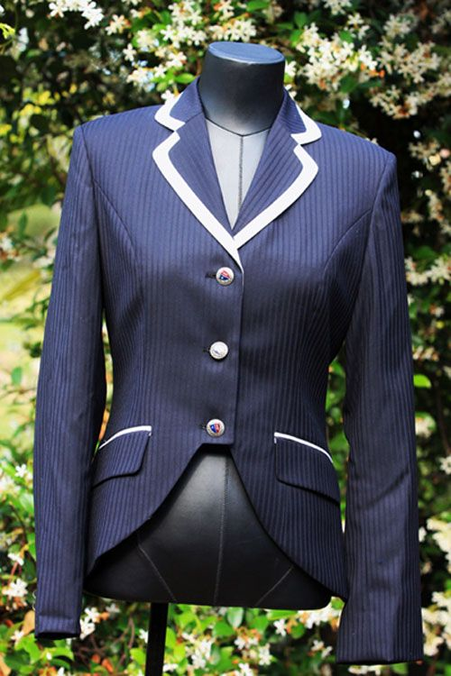 Navy Ladies Cutaway Jacket  with Pinstripe and Yellow Trim