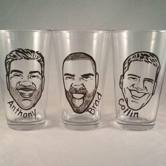 Cool Groomsmen Gift - Vintage Style Original Caricature Beer Glass- Hand Painted Beer Glass