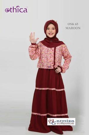 Baju Gamis Anak Ethica OSK 63 MAROON - Ramadhan Sale