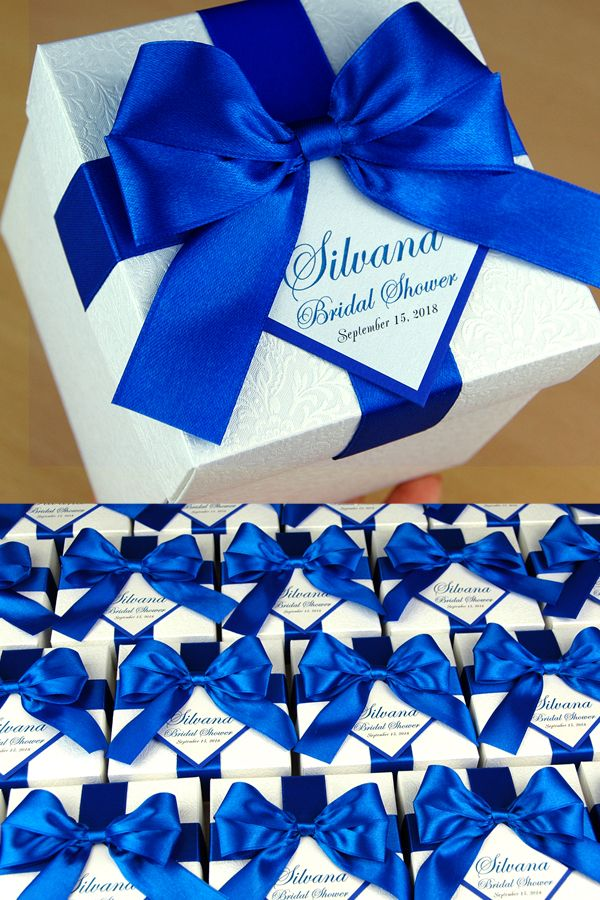 Bridal Shower Or Wedding Favor Boxes With Royal Blue Satin Ribbon Bow And Custom Tag Elegant Personalized Wedding Favor Box For Guests Wedding Gift Boxes Wedding Favor Boxes Custom Wedding Favours