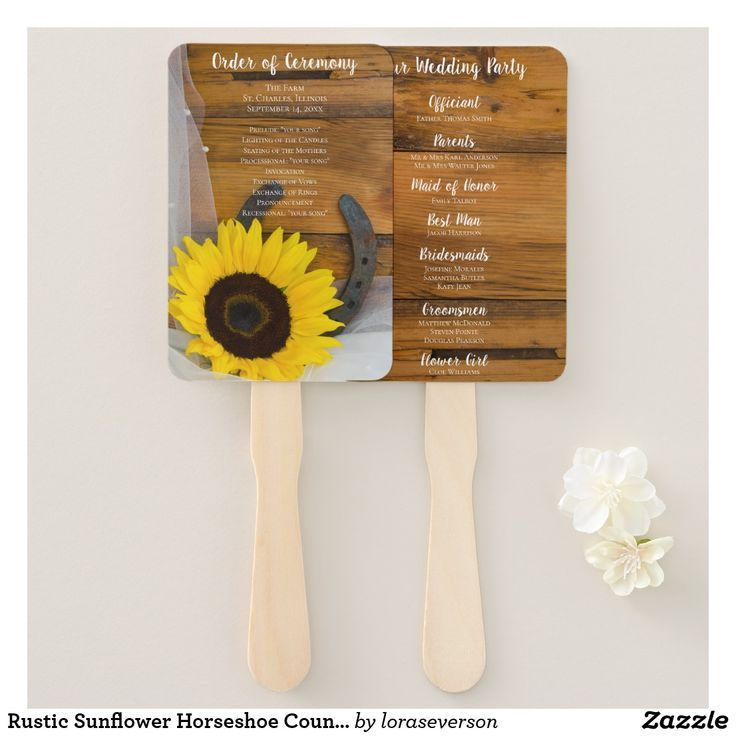 Rustic Sunflower Horseshoe Country Western Wedding Hand Fan Give your guests the order of your marriage ceremony with the charming Rustic Sunflower and Horseshoe Country Western Wedding Program Fan. Perfect for your rural ranch or farm nuptials, this casual yet classy wedding fan features a quaint floral photograph a yellow sunflower blossom with a rusty horseshoe, white bridal veil and a brown barn wood background. #barnwedding #weddingfans