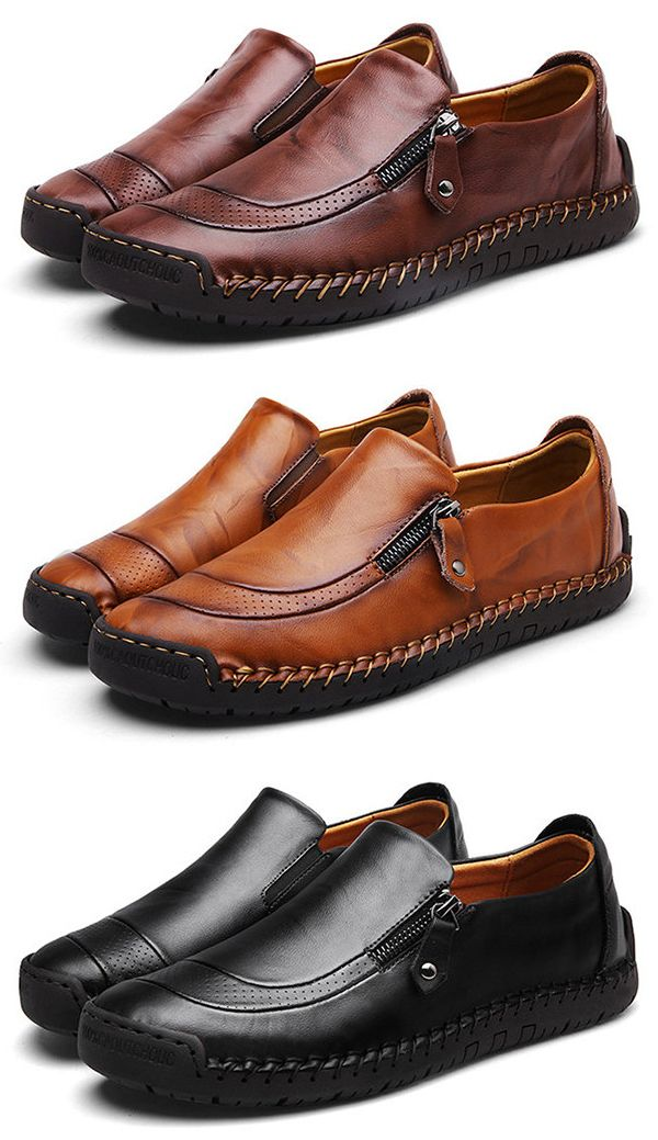 6d3d735eeaf US 47.22Men Hand Stitching Zipper Slip-ons Leather Shoes shoes  work  style   business