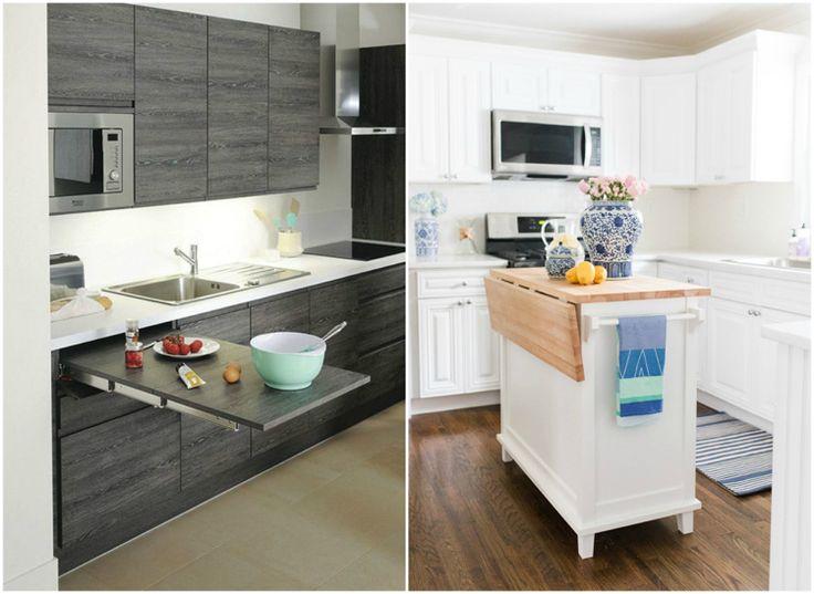 moderne Küche klappbare ausziehbare Arbeitsplatten Wohnideen - neue küche ikea