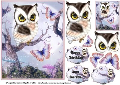 Fantasy Flutter Owl on Craftsuprint designed by Karen Wyeth - A gorgeous quick card topper with additional owl decoupage and butterflies, as well as a matching smaller gift tag topper and sentiment panels. xk - Now available for download!