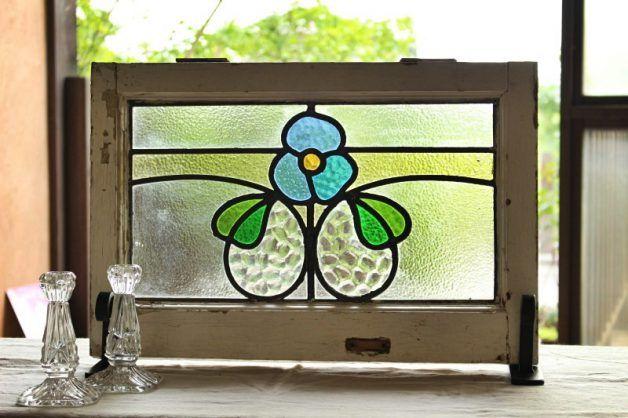 彩繪玻璃藍玫瑰英國古董es161041